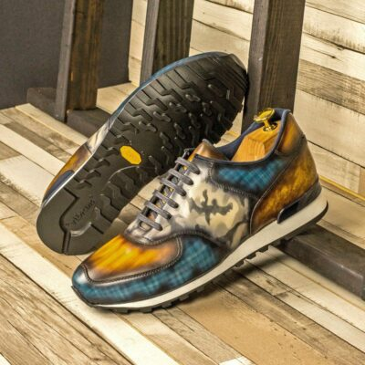 Custom Made Men's Sneaker in Italian Calf Leather with a Denim Blue, Cognac and Grey Camo Hand Patina
