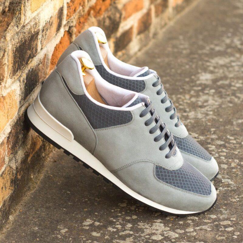 Custom Made Men's Sneaker in Light Grey Kid Suede with Grey Sport Mesh
