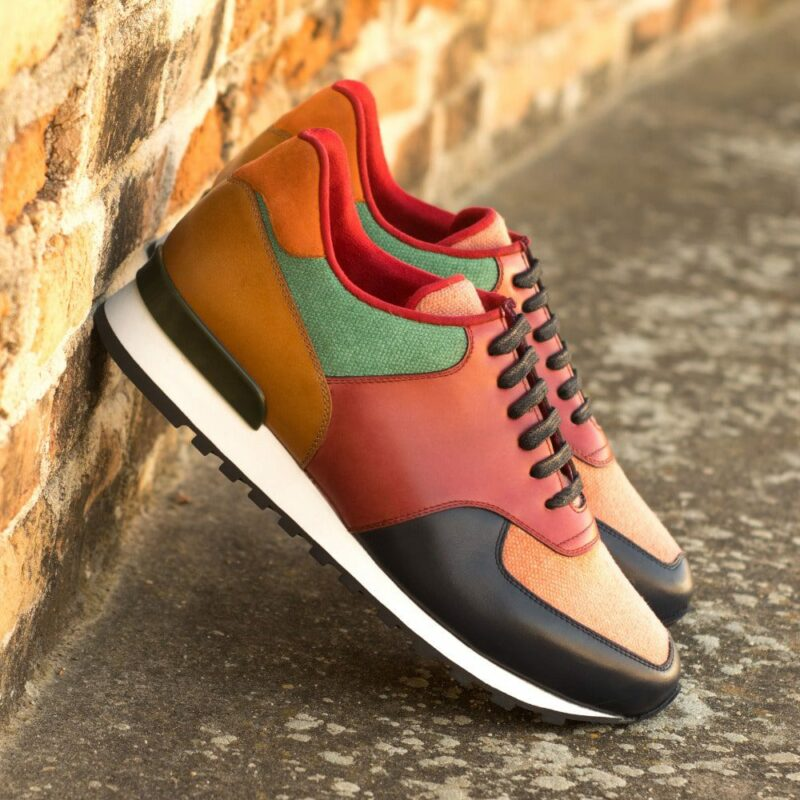 Custom Made Men's Sneaker in Multi Color Linen and Polished Calf Leather