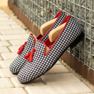 Custom Made Men's Wellington Slippers in Houndstooth with Red Nappa Leather