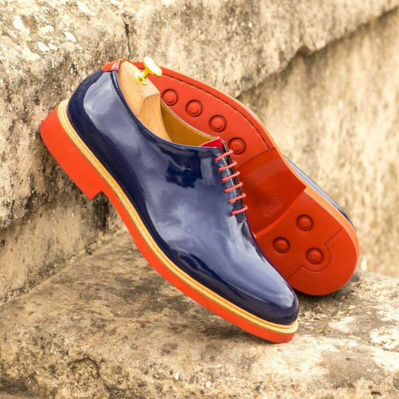 Custom Made Men's Wholecut Dress Shoes in Cobalt Blue Patent Leather with Red Kid Suede and Patent Leather