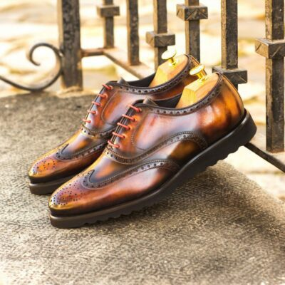 Custom Made Men's Wingtips in Italian Calf Leather with a Tobacco, Fire and Brown Hand Patina