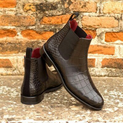 Custom Made Women's Chelsea Boot in Black Painted Croco Embossed Calf and Black Luxe Suede