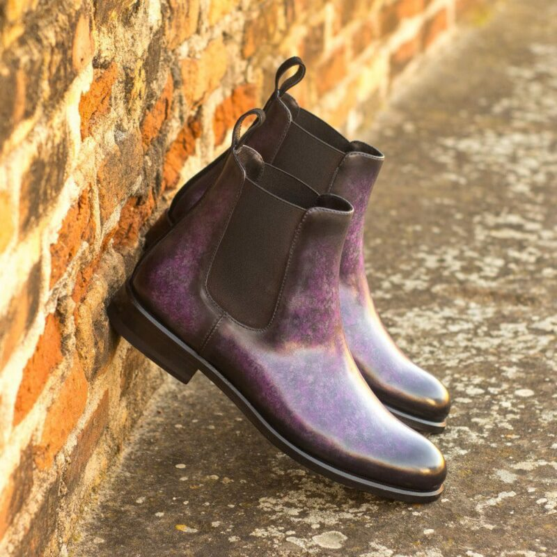 Custom Made Women's Chelsea Boot in Italian Calf Leather with a Purple Hand Patina and Black Kid Suede