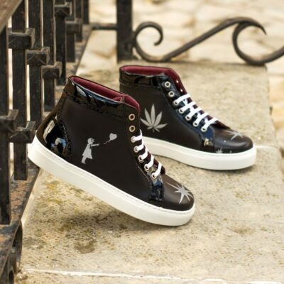 Custom Made Women's High Top in Black Box Calf with Black Patent Leather and Stencil Art