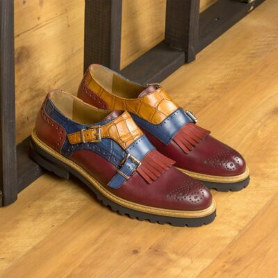 Custom Made Women's Kiltie Monkstrap in Burgundy Box Calf with Cognac and Navy Blue Croco