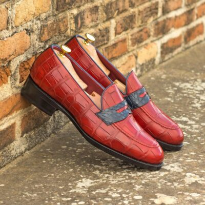 Custom Made Goodyear Welted Loafers in Red and Navy Blue Genuine Alligator with Beveled Waist and Metal Toe Taps