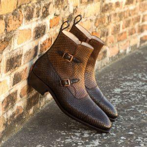 Custom Made Goodyear Welted Men's Octavian Boot in Dark Brown and Medium Brown Genuine Python