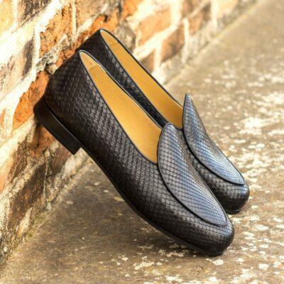 Custom Made Men's Belgian Slipper in Black Genuine Python with Black Painted Calf