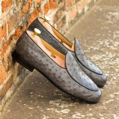 Custom Made Men's Belgian Slipper in Grey Genuine Ostrich with Black Painted Calf