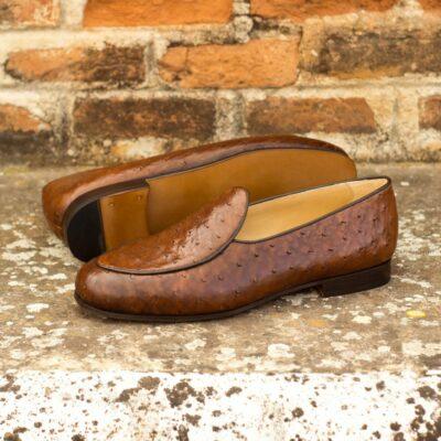Custom Made Men's Belgian Slipper in Medium Brown Genuine Ostrich with Dark Brown Painted Calf