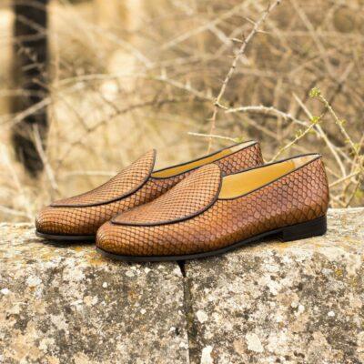 Custom Made Men's Belgian Slipper in Medium Brown Genuine Python with Dark Brown Painted Calf