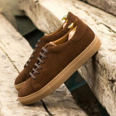 Custom Made Men's Cupsole Trainers in Medium Brown Luxe Suede with Medium Brown Polished Calf