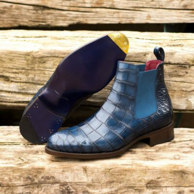 Custom Made Men's Goodyear Welt Chelsea Boot Classic in Navy Blue Genuine Alligator with Metal Toe Taps