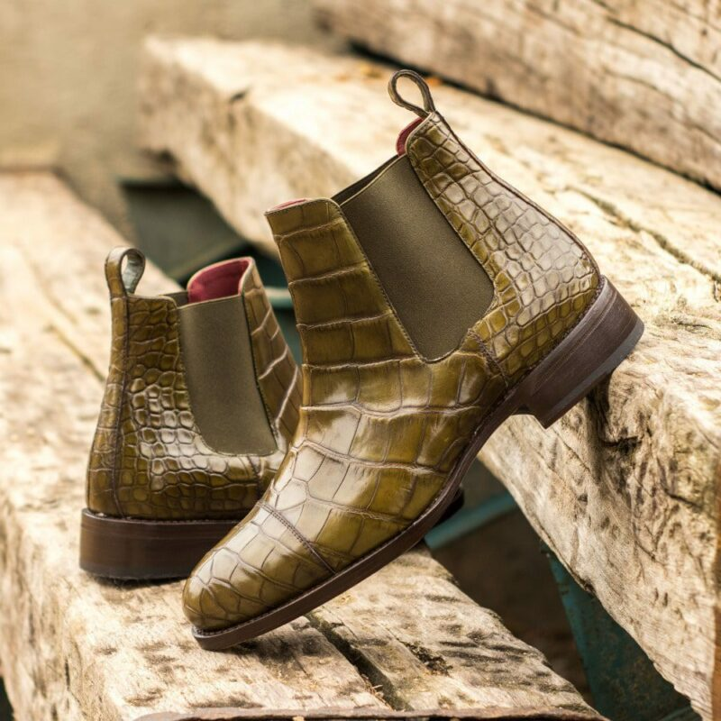 Custom Made Men's Goodyear Welt Chelsea Boot Classic in Olive Green Genuine Alligator with Metal Toe Taps