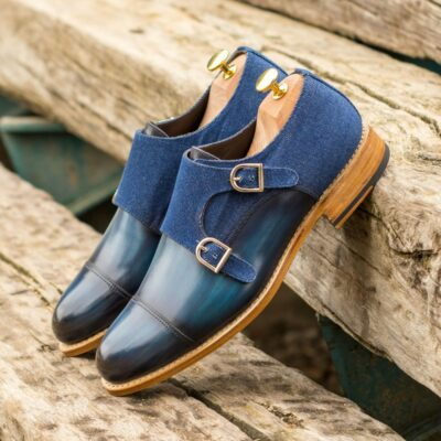 Custom Made Men's Goodyear Welt Double Monks in Italian Calf Leather with Denim Blue Hand Patina and Denim Jeans