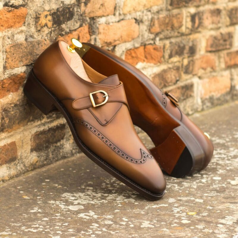 Custom Made Men's Goodyear Welt Single Monk in Burnished Cognac Box Calf
