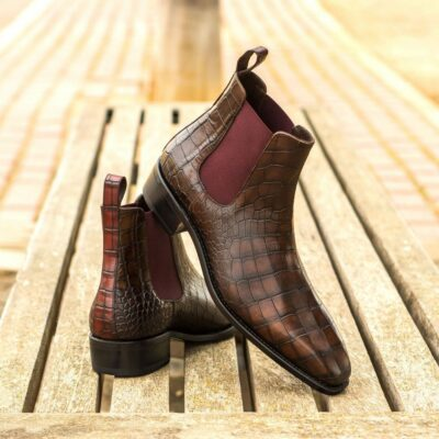 Custom Made Men's Goodyear Welted Chelsea Boot Classic in Dark Brown and Burgundy Painted Croco Embossed Calf Leather
