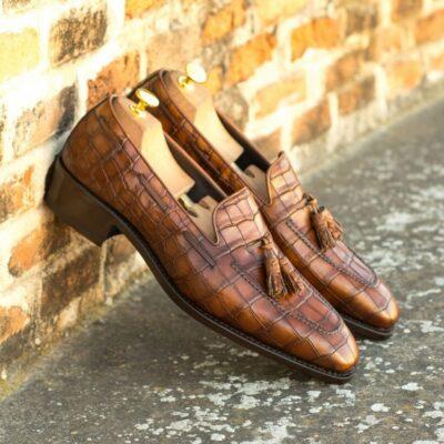 Custom Made Men's Goodyear Welted Loafers in Dark Brown Painted Croco Embossed Calf