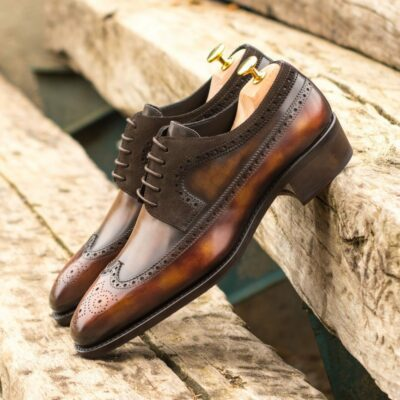 Custom Made Men's Goodyear Welted Longwing Blucher in Italian Calf Leather with a Brown and Fire Hand Patina and Dark Brown Luxe Suede