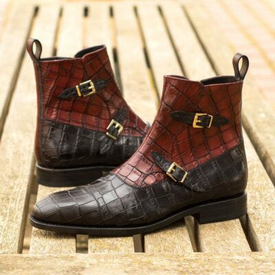 Custom Made Men's Goodyear Welted Octavian Boot in Black and Burgundy Painted Croco Embossed Calf with Italian Calf Leather with Burgundy Hand Patina