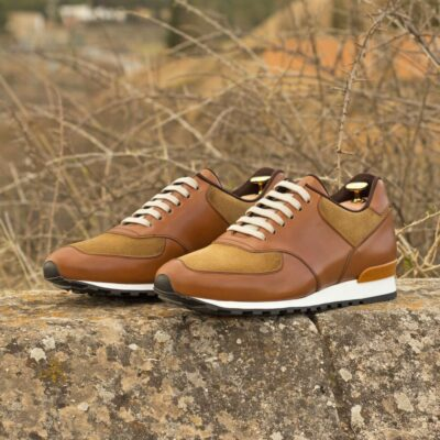 Custom Made Men's Sneaker in Medium Brown Box Calf and Camel Luxe Suede