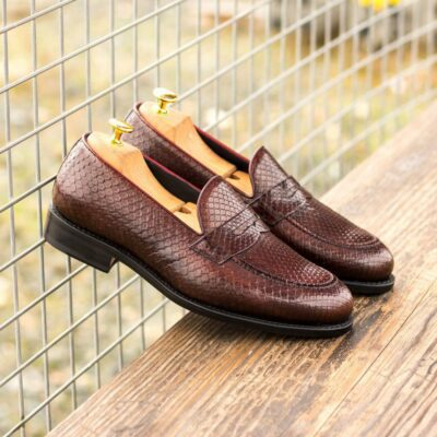Custom Made Goodyear Welted Loafers in Burgundy Genuine Python