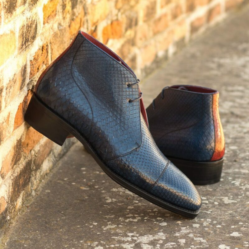 Custom Made Goodyear Welted Men's Chukka Boots in Navy Blue and Red Genuine Python