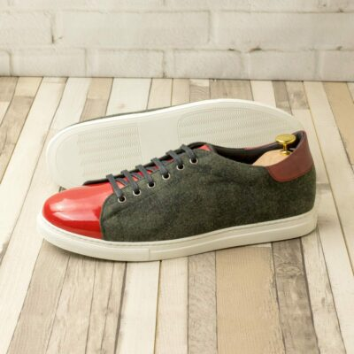 Custom Made Men's Cupsole Trainers in Camo Flannel and Red Patent Leather