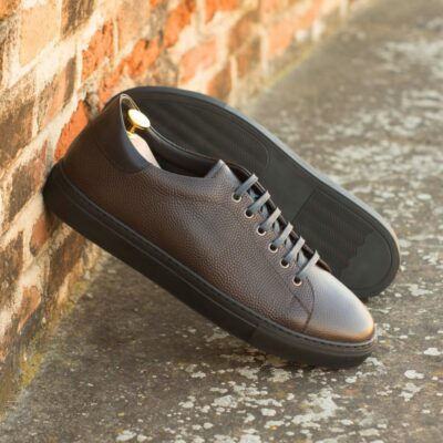 Custom Made Men's Cupsole Trainers in Dark Brown Pebble Grain Leather