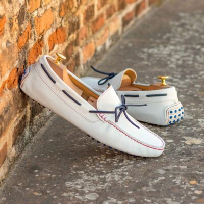 Custom Made Men's Driving Loafer in White Suede with Navy Blue Suede Bow