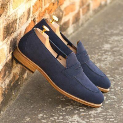 Custom Made Men's Goodyear Flex Loafer in Marine Blue Suede