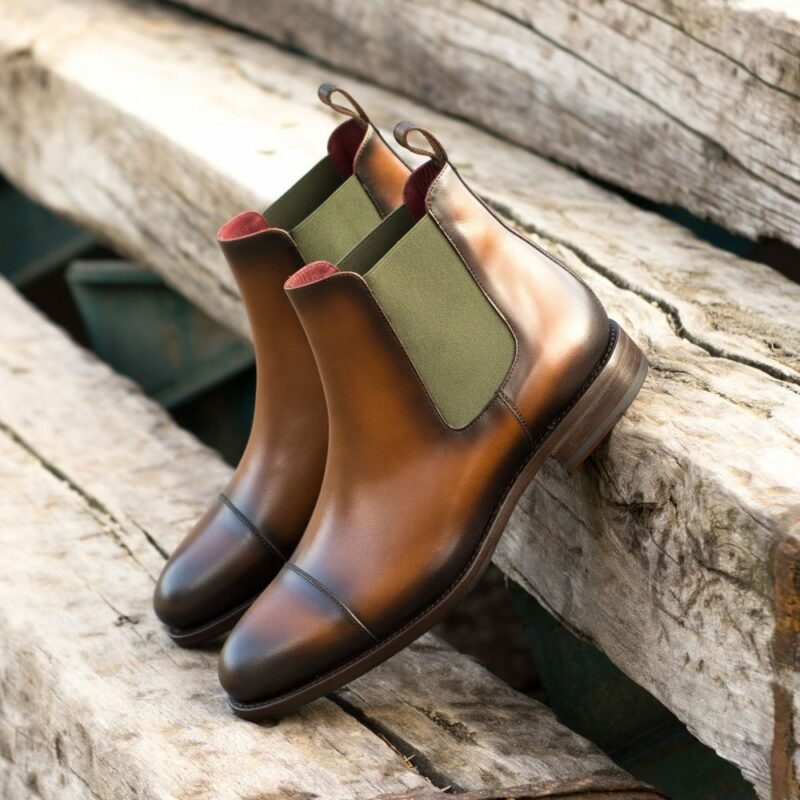 Custom Made Men's Goodyear Welt Chelsea Boot Classic in Burnished Medium Brown Painted Calf Leather