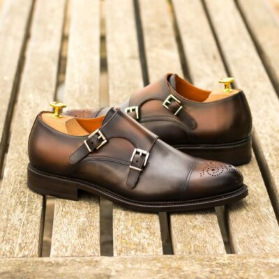 Custom Made Men's Goodyear Welt Double Monk in Burnished Medium Brown Box Calf and Grey Painted Calf