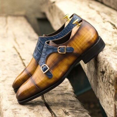 Custom Made Men's Goodyear Welt Double Monk in Italian Calf Leather with a Cognac Hand Patina with Navy Blue Painted Croco