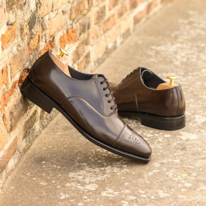 Custom Made Men's Goodyear Welt Oxford in Dark Brown Shell Cordovan with Beveled Waist and Metal Toe Taps