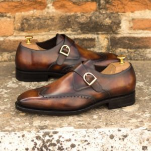 Custom Made Men's Goodyear Welt Single Monk in Italian Calf Leather with a Fire Hand Patina