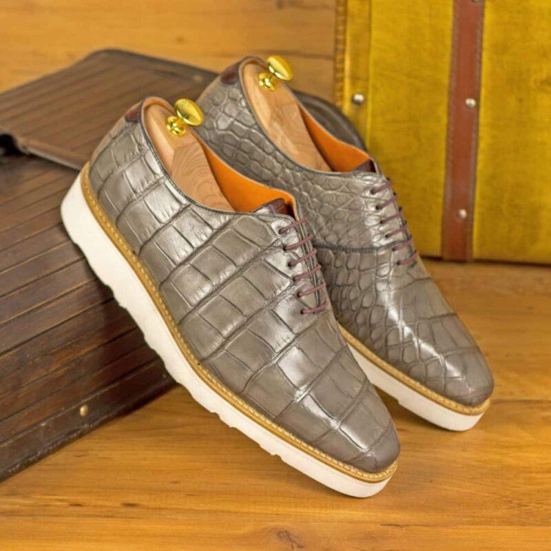 Custom Made Men's Goodyear Welt Wholecut Dress Shoes in Grey and Burgundy Genuine Alligator
