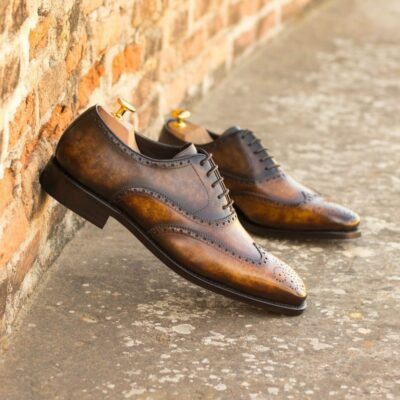 Custom Made Men's Goodyear Welt Wingtips in Italian Calf Leather with a Brown and Cognac Hand Patina Finish