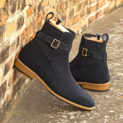 Custom Made Men's Goodyear Welted Jodhpur Boot in Navy Blue Luxe Suede