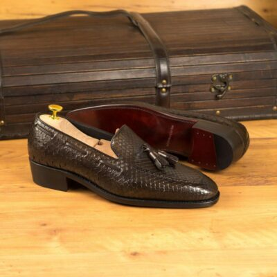 Custom Made Men's Goodyear Welted Loafers in Dark Brown Genuine Python