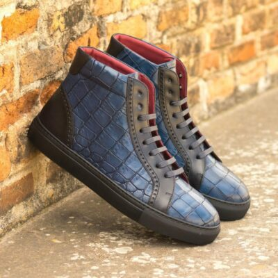 Custom Made Men's High Kick in Navy Blue Painted Croco Embossed Calf with Black Painted Calf