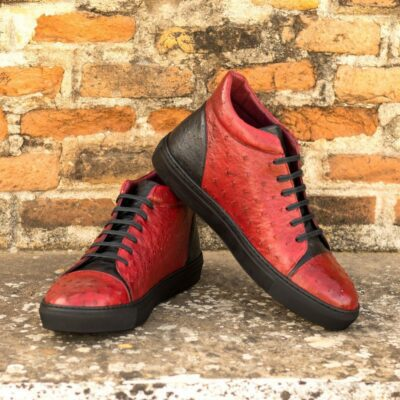 Custom Made Men's High Top in Red and Black Genuine Ostrich