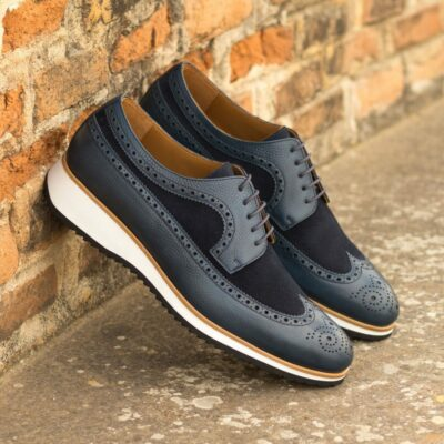 Custom Made Men's Longwing Blucher in Navy Blue Pebble Grain Leather and Luxe Suede