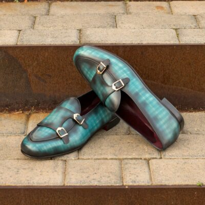 Custom Made Men's Monk Slippers in Italian Calf Leather with a Turquoise Hand Patina