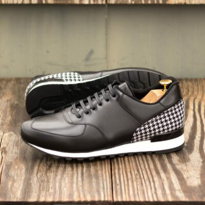 Custom Made Men's Sneaker in Black Box Calf with Houndstooth Wool