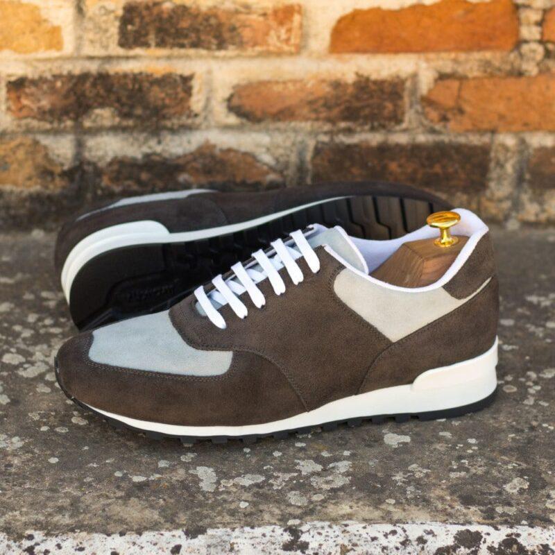 Custom Made Men's Sneaker in Grey Luxe Suede and Light Grey Kid Suede