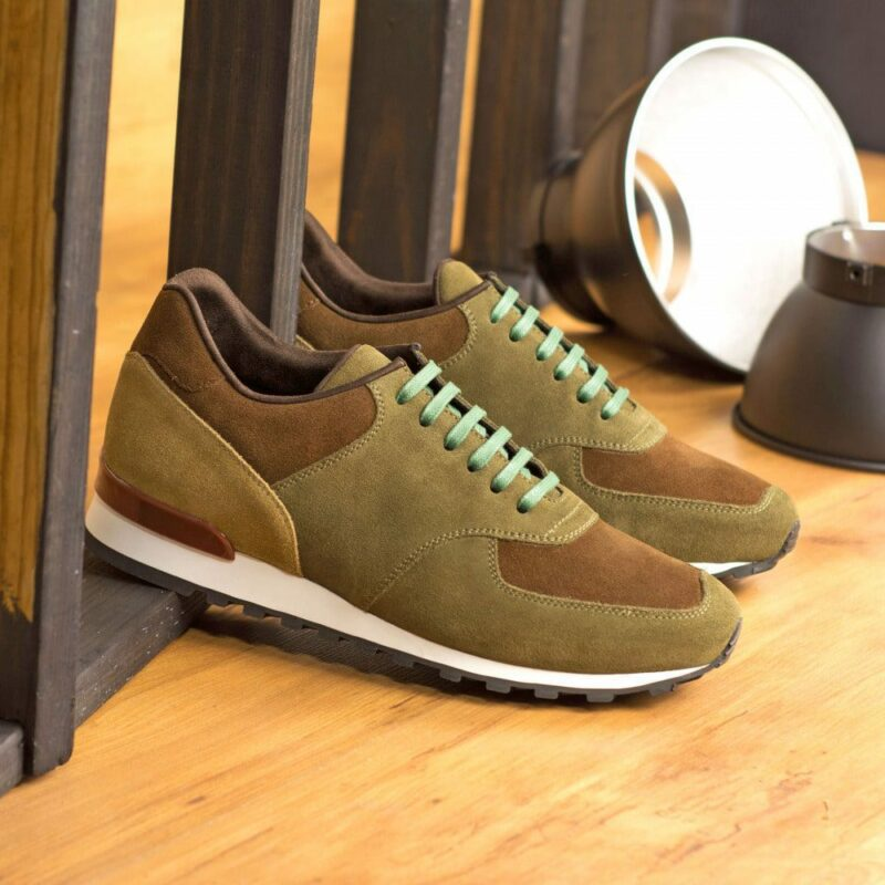 Custom Made Men's Sneaker in Khaki, Medium Brown and, Camel Luxe Suede