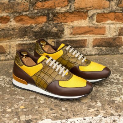 Custom Made Men's Sneaker in Mustard Linen, Olive Painted Croco, and Dark Brown Box Calf