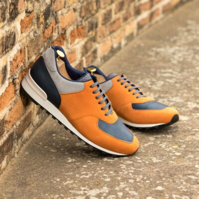Custom Made Men's Sneaker in Orange and Light Grey Kid Suede with Navy Blue Pebble Grain Leather